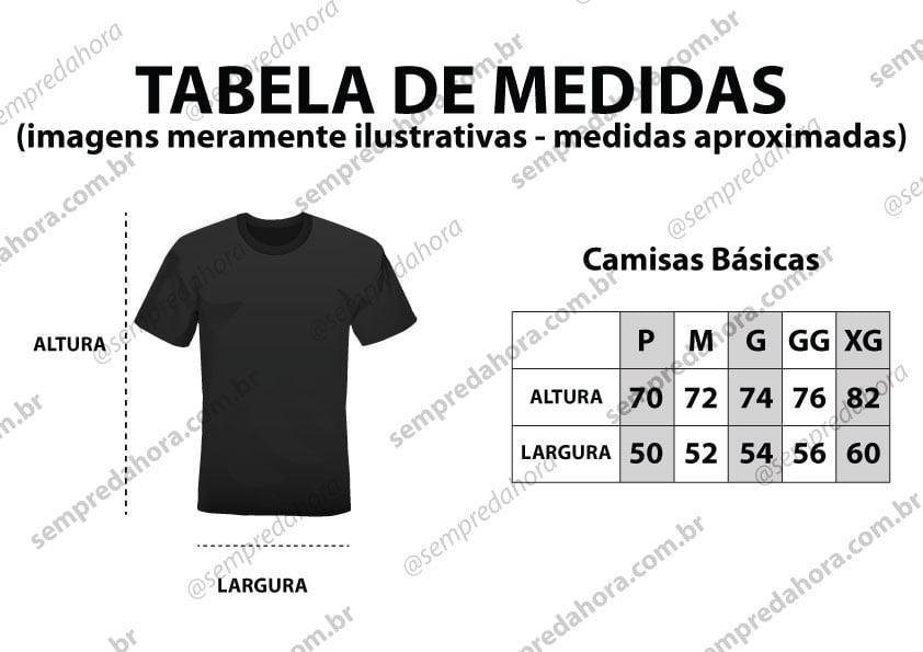 Tabela de medidas de camisas